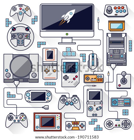 Flat design vector illustration concept of game environment, tools and essentials. Various devices. Collection in stylish trendy colors of virtual computer game items and elements. Stroke, thin line. - stock vector