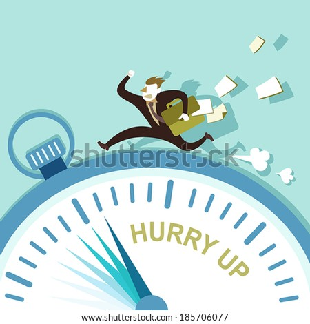 flat design vector illustration concept of hurry up - stock vector