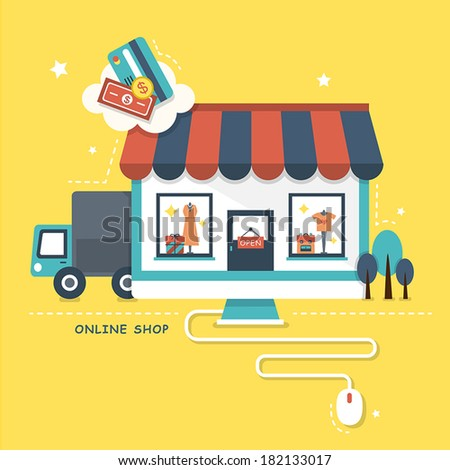 flat design vector illustration concept of online shop - stock vector