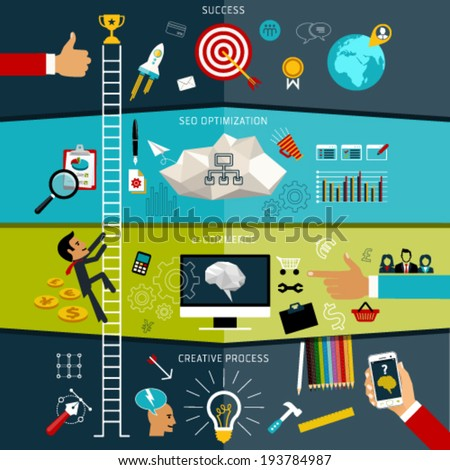 Flat design vector illustration concept of SEO combined from elements and icons which symbolized a success internet web searching optimization and creative process. Editable For Your Design.  - stock vector