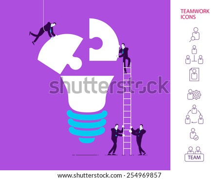 Flat design vector illustration concept of team work. Vector illustration .  Global colors.  Eps 10 - stock vector