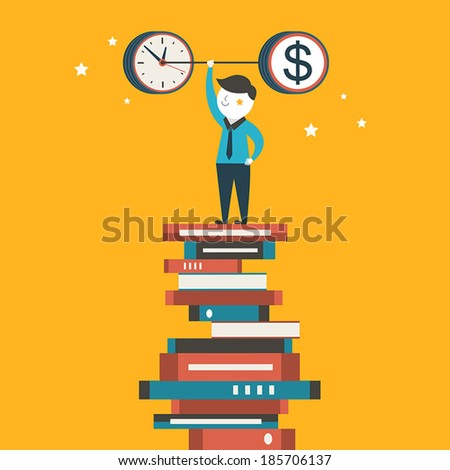 flat design vector illustration concept of time and money allocation - stock vector