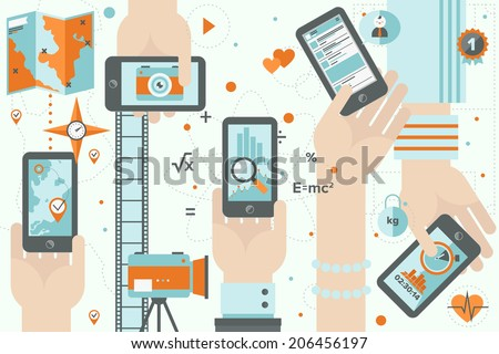 Flat design vector illustration concept of various mobile application usage - maps navigation, photography on smartphone, business and financial chart, social media, healthy lifestyle and running apps - stock vector