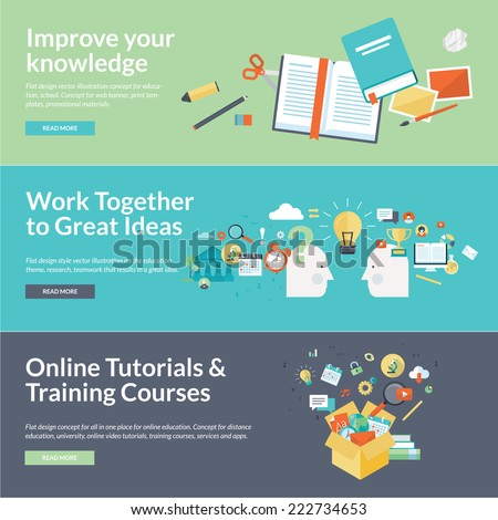 Flat design vector illustration concepts for education. Concepts for online tutorials, training courses, teamwork, research, university, distance education.      - stock vector