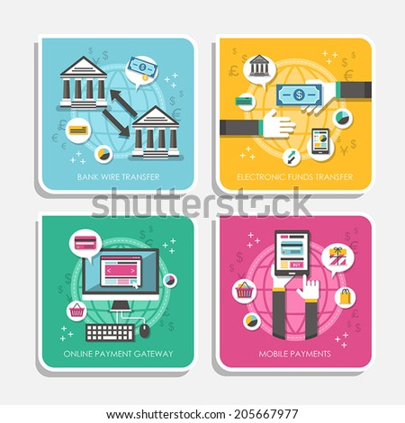 flat design vector illustration concepts of online payment methods - stock vector