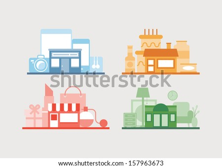 Flat design vector illustration icons set of modern e-store, shop of furniture, shop of gifts and cafe for relaxing after buying. Isolated on white background.  - stock vector