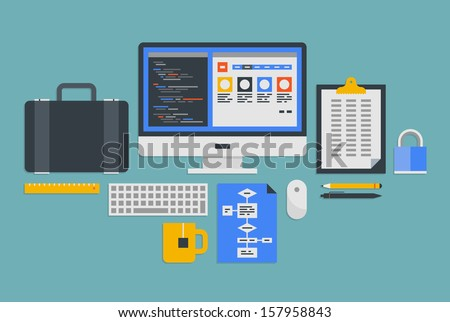 Flat design vector illustration icons set of modern office workflow with various objects and process of web programming development. Isolated on gray blue background  - stock vector
