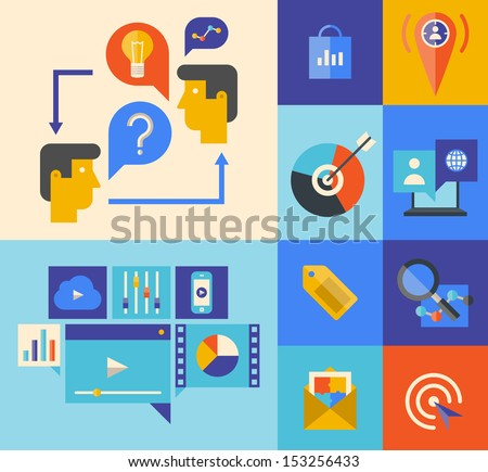 Flat design vector illustration icons set of website marketing product and ideas brainstorming concept in stylish colors.  Isolated on colored background - stock vector