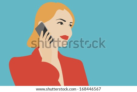 Flat design vector illustration in retro colors of young beautiful woman holding modern mobile device and talking on the mobile phone. Isolated on stylish colored background. - stock vector