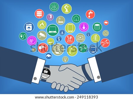 Flat design vector illustration of business transaction in internet of things era. Many icons of devices like smart watch, appliances, smart phones, thermostats, sensors and drones. - stock vector