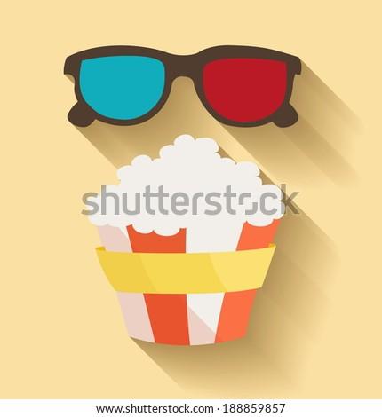 Flat design. Vector illustration of 3D cinema and popcorn - stock vector