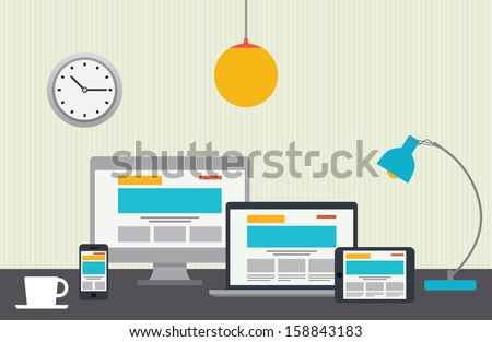 Flat design vector illustration of designer desktop - stock vector