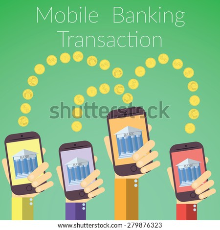 Flat design vector illustration of hands holding smart phones with bank icon. Concept for on line banking transaction, on color background. - stock vector