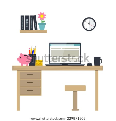 Flat design vector illustration of home office interior with notebook. Vector illustration of workplace - stock vector