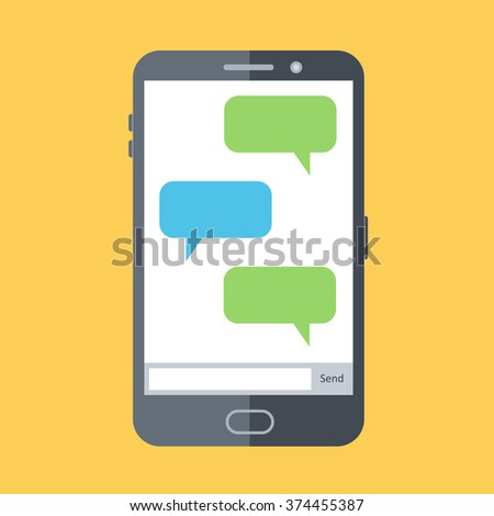 Flat design vector illustration of mobile chat. Display with empty message boxes, speech bubbles. SMS chat. - stock vector