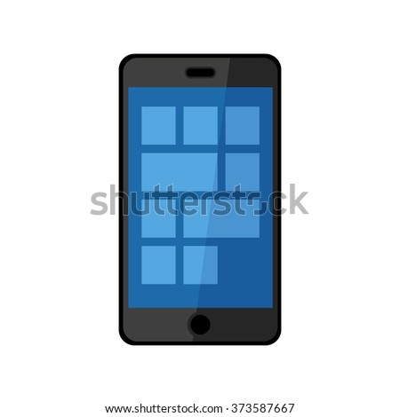 Flat design vector illustration of modern black touchscreen smartphone icon isolated on white background - stock vector