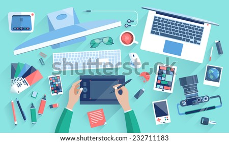 Flat design vector illustration of modern creative office workspace, workplace of a designer. The office of a creative worker. Flat minimalistic style and color with long shadows for Web & Mobile App - stock vector