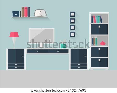 Flat design vector illustration of modern home office interior. EPS 10 vector file. - stock vector