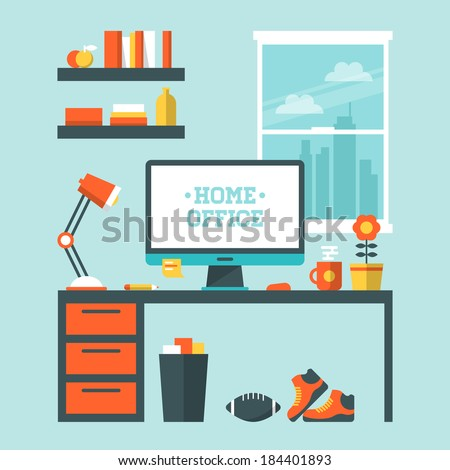 Flat design vector illustration of modern home office interior with designer desktop - stock vector