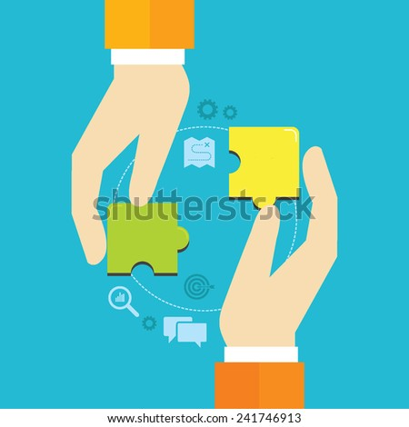 Flat design vector illustration of puzzle pieces in hands, concept for finding business solutions, reaching goals, partnership, teamwork isolated on bright background  - stock vector