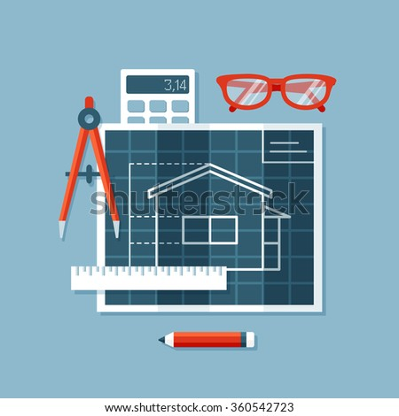 Flat design vector illustration of  tools: blueprint with plan of house, engineers compass or divider, ruler, calculator, glasses. Construction, building and engineering concept  - stock vector
