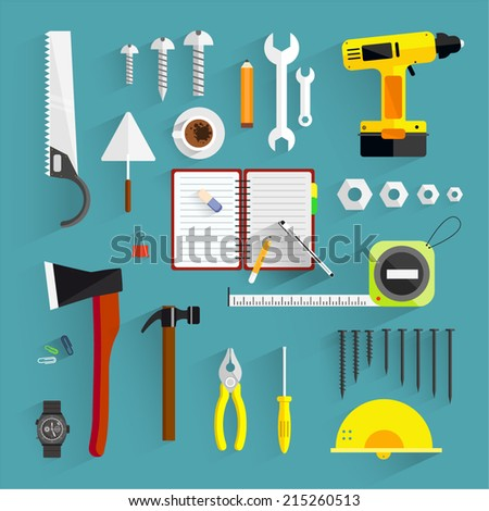 Flat design.Vector illustration on the theme of building.Workplace concept.Icons.Simp le icons related to tools.Building and construction website icons.Construction icons set.Modern, flat, bright. - stock vector