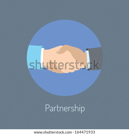 Flat design vector illustration poster concept of two business people hand shaking which symbolizing partnership cooperation and success deal negotiation. Isolated on stylish background - stock vector