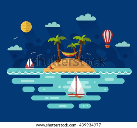 Flat design vector nature night landscape illustration with tropical island, moon, palm, coconut, hammock, sailing boat, air balloon. Summer vacation on tropical island. Perfect holidays concept. - stock vector
