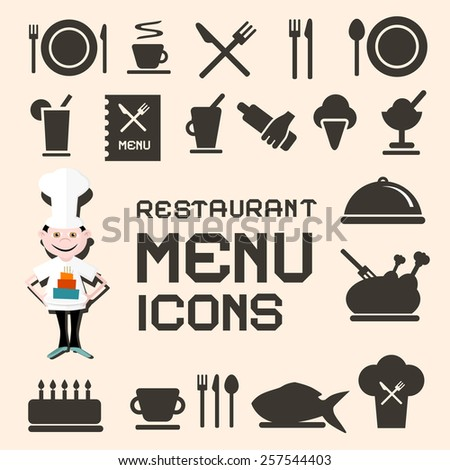 Flat Design Vector Restaurant Menu Icons Set - stock vector