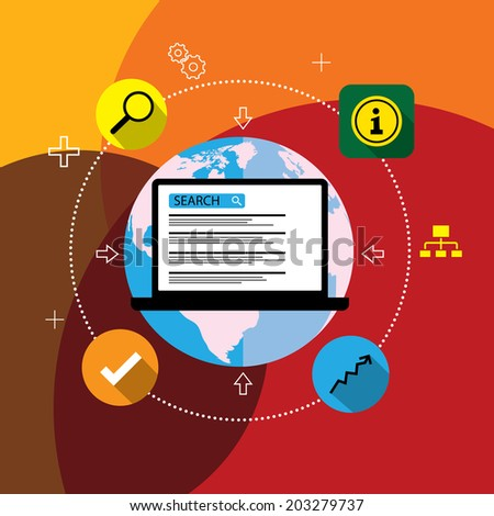 flat design vector seo or search engine optimization. This graphic also represents concepts like search engine marketing, ad placement, online advertisement, internet promotion, web marketing - stock vector