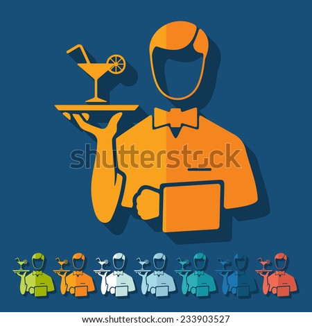 Flat design: waiter - stock vector