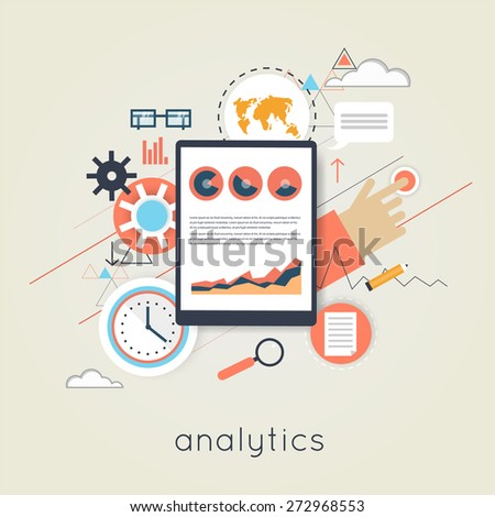 Flat design web analytics elements, optimization, programming process concept. Material design. - stock vector