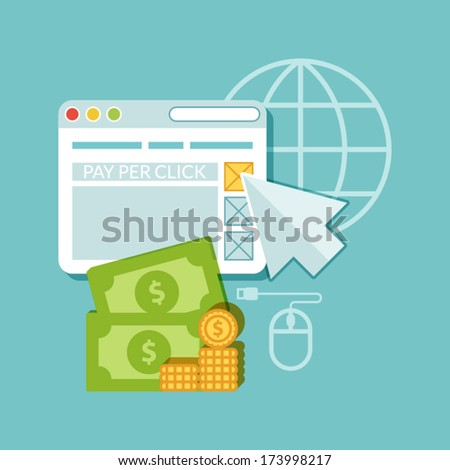 Flat design. Web marketing. Pay per click - stock vector