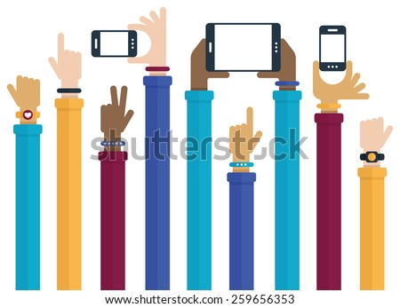 Flat design with hands raised holding mobile devices and wearing technology products. - stock vector