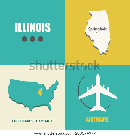 flat design with map Illinois concept for air travel - stock vector
