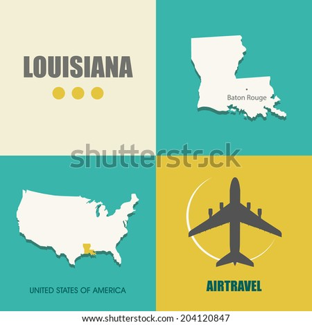 flat design with map Louisiana concept for air travel - stock vector