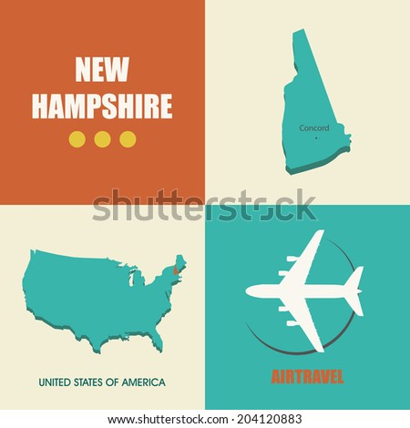 flat design with map New Hampshire concept for air travel - stock vector
