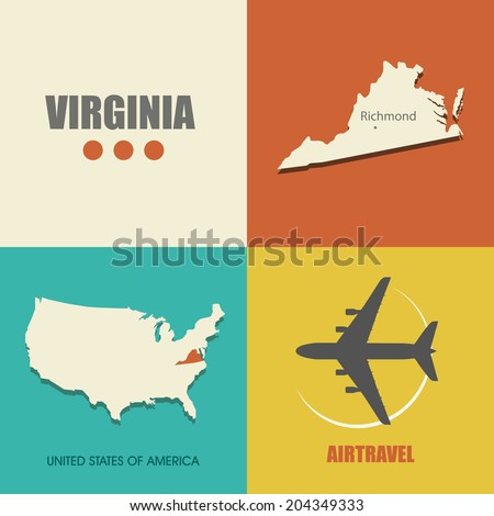 flat design with map Virginia concept for air travel - stock vector