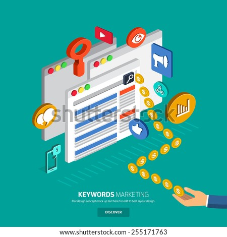 Flat designconcept make money with keyword in search engine online. SEO , SEM - stock vector