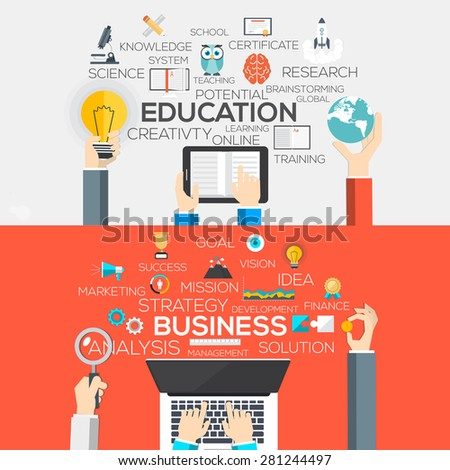 Flat Designed Banners Concept of Education and business. Icons Collection of Creative Work Flow Items and Elements. Vector - stock vector