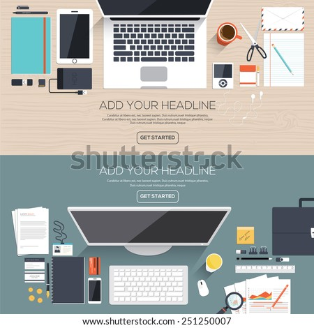 Flat designed banners for creative project, graphic design development, business, finance. Vector - stock vector