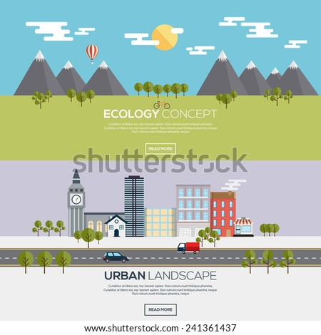 Flat designed banners for ecology concept  and urban landscape. Vector - stock vector