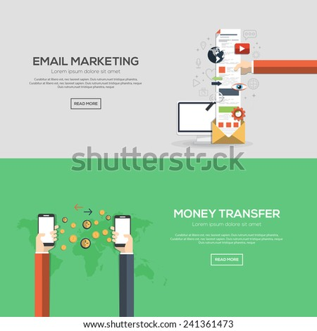 Flat designed banners for email marketing and money transfer. Vector - stock vector
