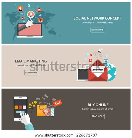 Flat designed banners for email marketing, social network concept  and buy online. Vector - stock vector