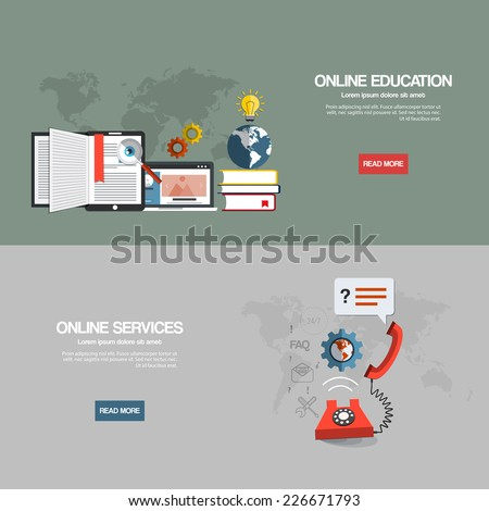Flat designed banners for online education and online services. Vector - stock vector