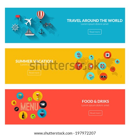 Flat designed banners for travel around the world, summer vacation and food and drinks. Vector - stock vector