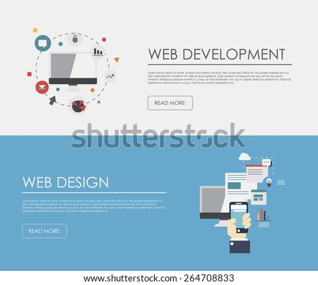 Flat designed banners for web development and mobile apps development. Vector  - stock vector