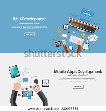 Flat designed banners forweb development and mobile apps development. Vector - stock vector