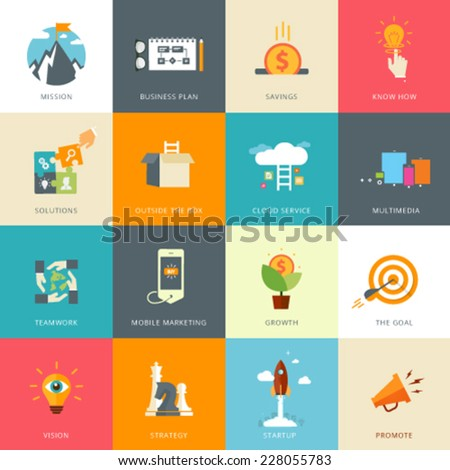 Flat Designed Business Concepts for Business Plan. Know How. Multimedia. Mission. Mobile Marketing. Strategy. Start-up. Promote. Vision.  Solutions. Outside the Box. Growth. Teamwork - stock vector