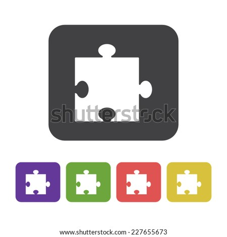 Flat designed puzzle icon in different colors. Business concept. Idea. Logic - stock vector